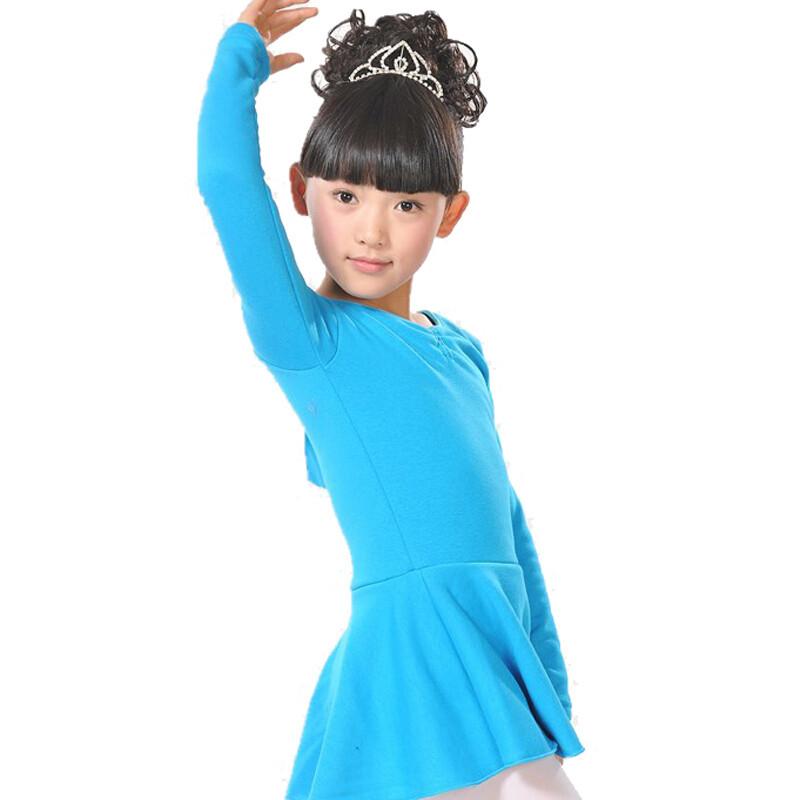 女童拉丁舞服装女童长袖儿童舞蹈衣服演出服练功服舞裙加绒加厚表演服