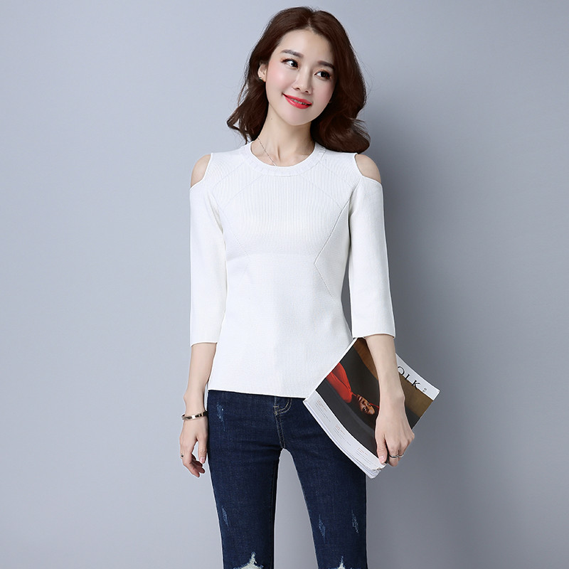 珍真羊 秋装新款圆领套头七分袖打底针织衫女韩版短款