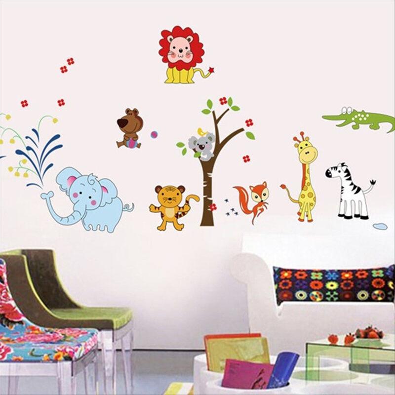 吉朵芸动物园卡通贴画儿童房宝宝卧室幼儿园装饰墙贴纸可移除环境布置