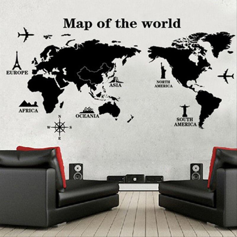 吉朵芸世界地图墙贴可移除客厅电视背景墙贴欧式风格家居装饰简约墙面