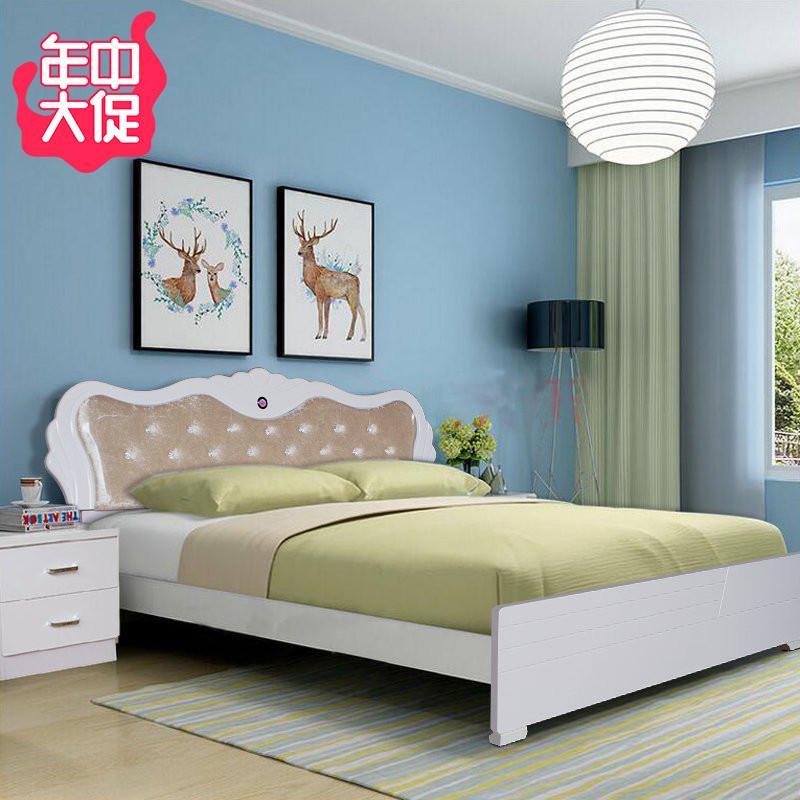 包郵臥室成套家具簡約現代板式床1.8米白色雙人床婚床