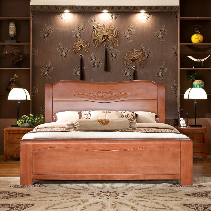 新中式实木床1.8米双人床主卧室现代简约海棠色硬板床图片