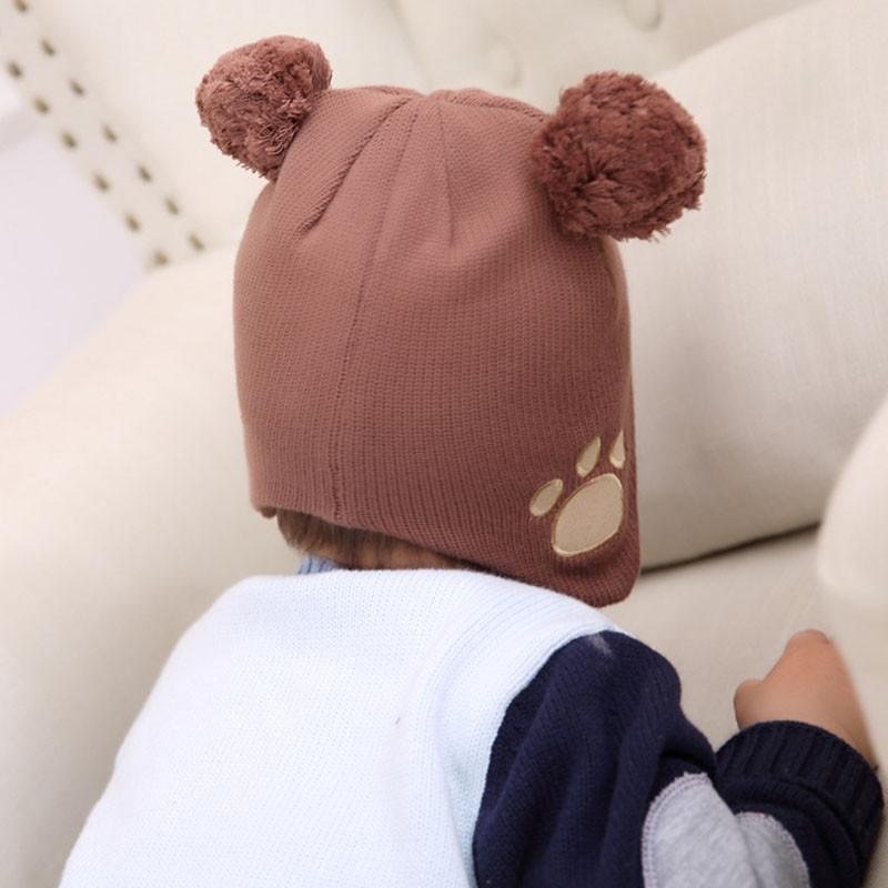 物有物语 儿童帽子 时尚可爱宝宝小熊针织婴儿护耳男女童套头秋冬棉帽