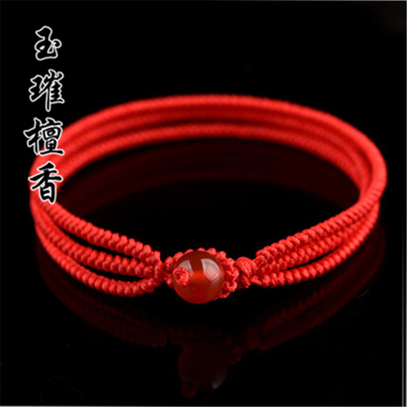 玉璀檀香 转运珠红绳手串编织金刚结手链玛瑙情侣手绳