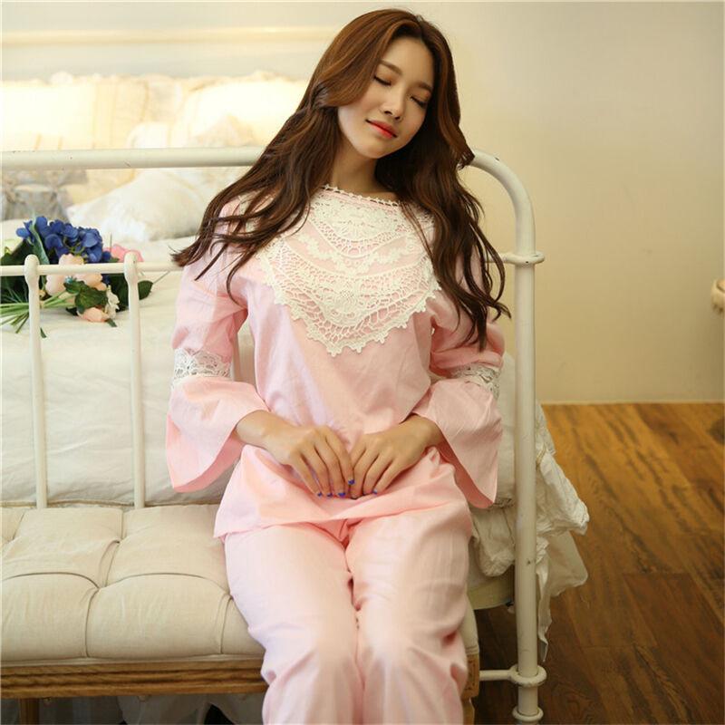 韩版梭织纯棉布秋季睡衣女长袖甜美可爱公主宫廷蕾丝边家居服套装ar7g