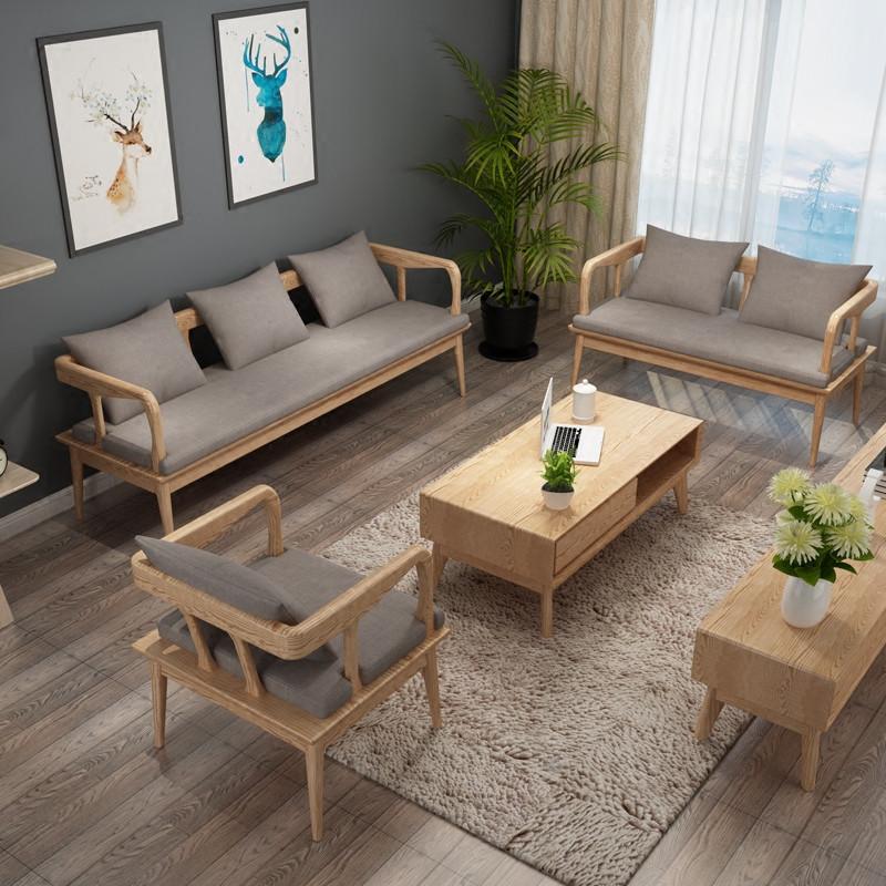 景山百岁 实木沙发茶几组合 5件套u型木质布艺坐垫大小户型客厅套房家