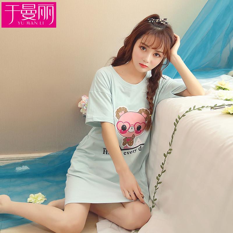 于曼丽夏季短袖睡裙女棉卡通薄款睡衣夏天宽松大码动物韩版甜美家居
