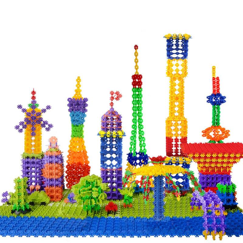 巧之木 积木玩具 雪花片1200片桶装塑料立体拼插拼图