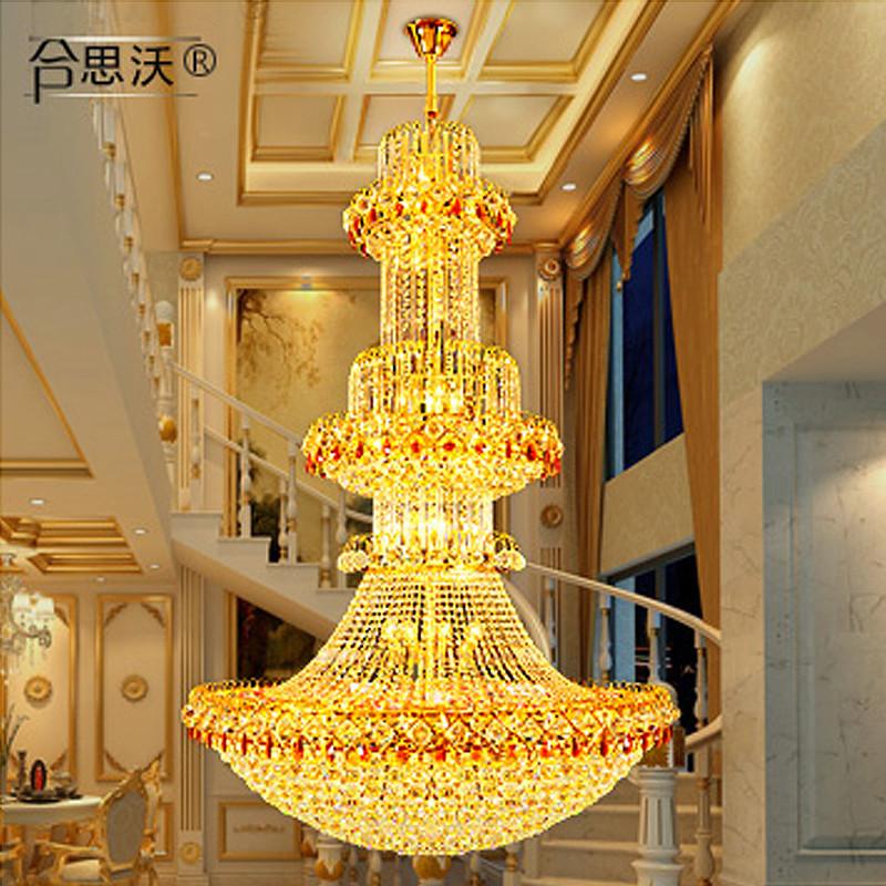欧式豪华大客厅水晶大吊灯大气别墅楼梯灯金色长吊灯水晶灯酒店灯