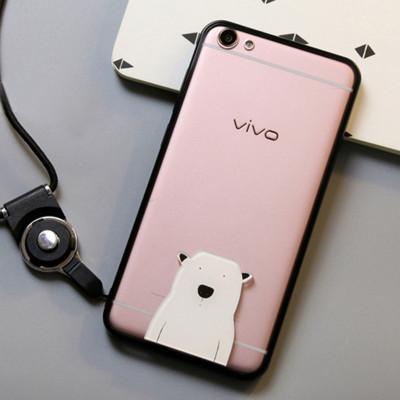 麦路 手机壳保护套带挂绳可爱个性潮卡通硅胶软壳防摔外壳 适用于vivo