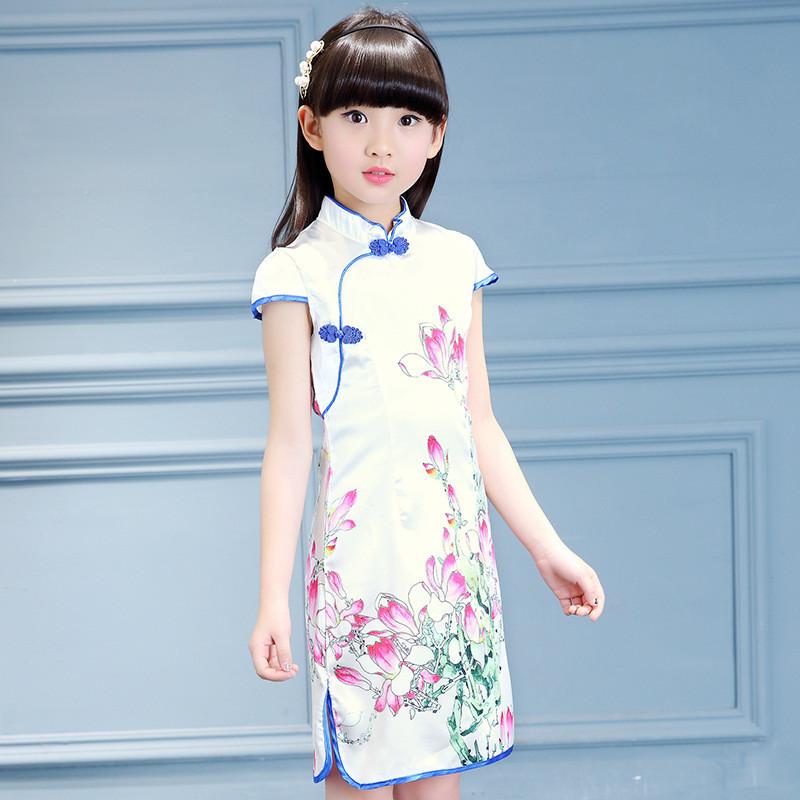 儿童旗袍夏季女童唐装中国民族风连衣裙小孩女孩公主中大童装图片