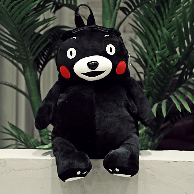 正版熊本熊双肩包女日系可爱卡通包毛绒公仔个性休闲背包暖手熊背包熊