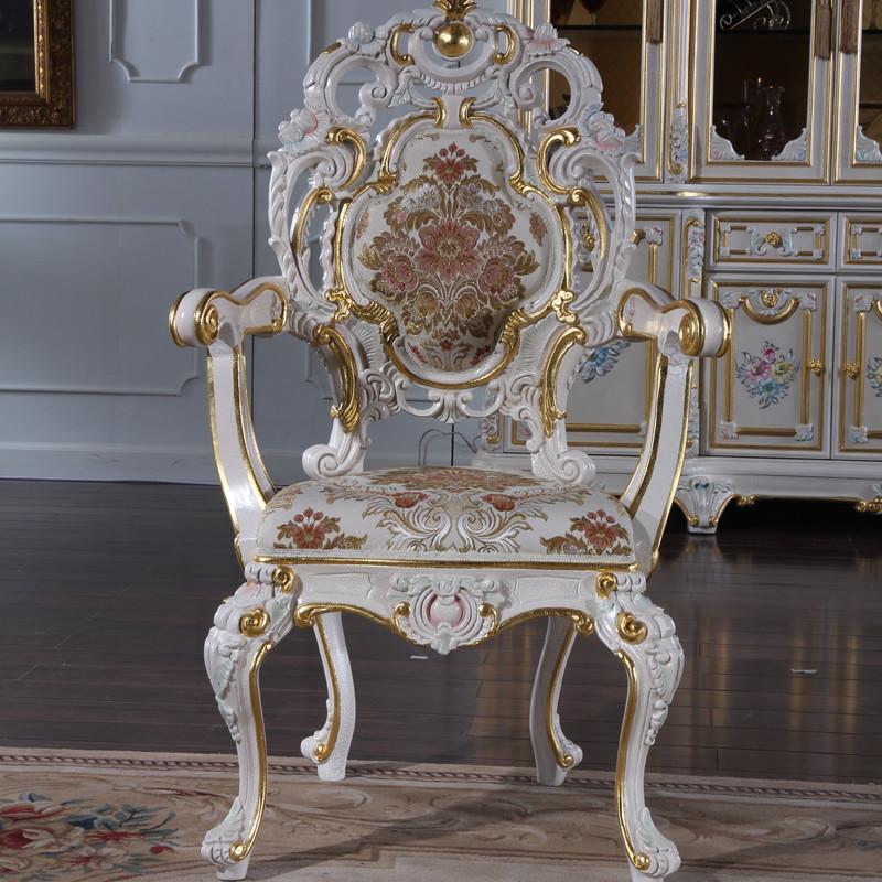 fp家居 意大利巴洛克精雕家具法式古典实木欧式宫廷双面雕花豪华餐椅