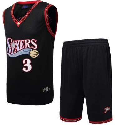 篮球服套装费城76人队3号阿伦艾弗森比赛训练运动服76人队3号阿伦艾弗森球衣短袖T恤
