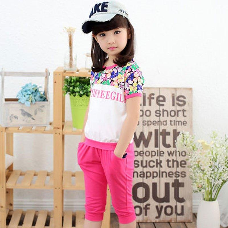 短裤中大童时尚休闲运动两件套套装小孩子短袖套装可爱小清新女宝宝