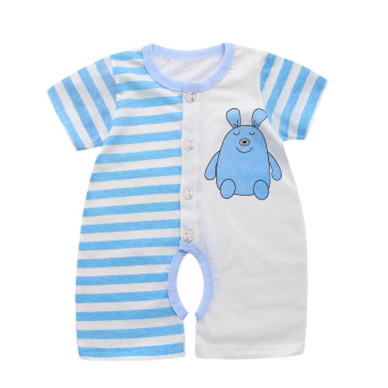 2017新品可爱卡通婴儿连体衣短袖薄款宝宝夏装哈衣幼儿0-3个月6新生儿