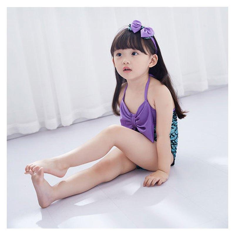 2017新品夏季可爱简约卡通儿童泳衣女孩婴儿幼儿泳装超萌公主女童小
