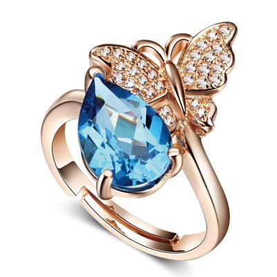 帛兰梓韵 天然托帕石戒指时尚女款蝴蝶指环925银镶蓝宝石指戒指海蓝宝石手饰送朋友