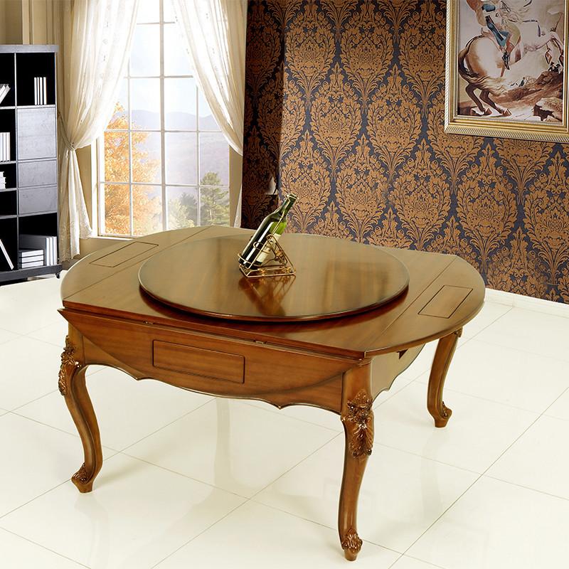 家用欧式四口麻将机 实木欧式折叠大圆桌
