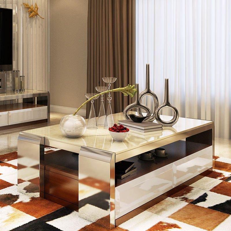 马氏皇庭 现代大理石茶几 小户型客厅 不锈钢功夫茶桌