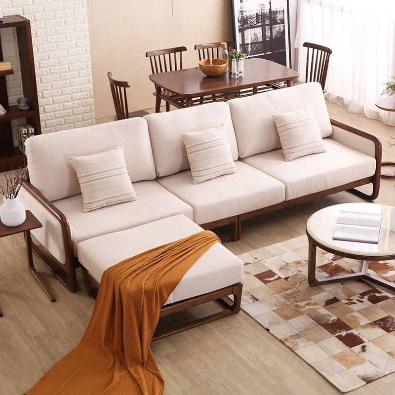 马氏皇庭实木沙发 北欧风格布艺组合沙发高档白蜡木客厅可拆洗