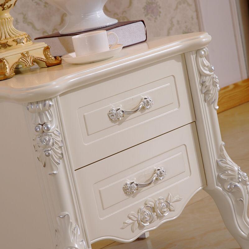 浪漫星 床头柜 法式实木脚烤漆雕花床头柜 欧式卧室小