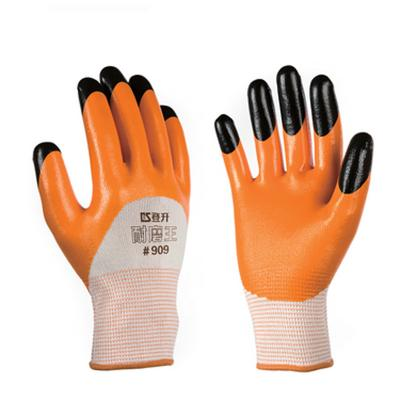 登升(DS)耐磨王手套 耐油耐堿手套 工人手套 勞保手套 #909進口膠手套 1付裝 12付/包