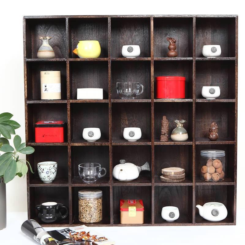高档烧桐木博古架 实木茶棚多宝格展示置物 茶杯茶壶竹茶具收纳柜25图片