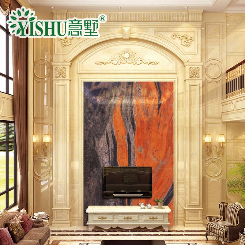 意墅 大理石复式背景墙3d高温微晶石瓷砖客厅电视影视图片