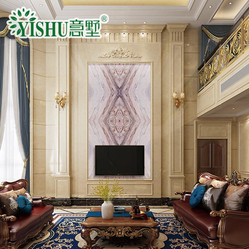 瓷砖背景墙3d微晶石客厅电视墙复式欧式自然风景壁画人造石材罗马柱护