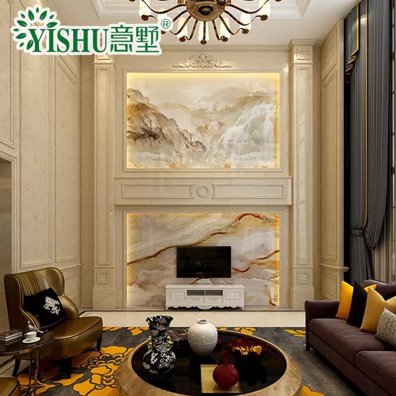 意墅 復式樓大理石石材羅馬柱客廳電視背景墻瓷磚裝飾