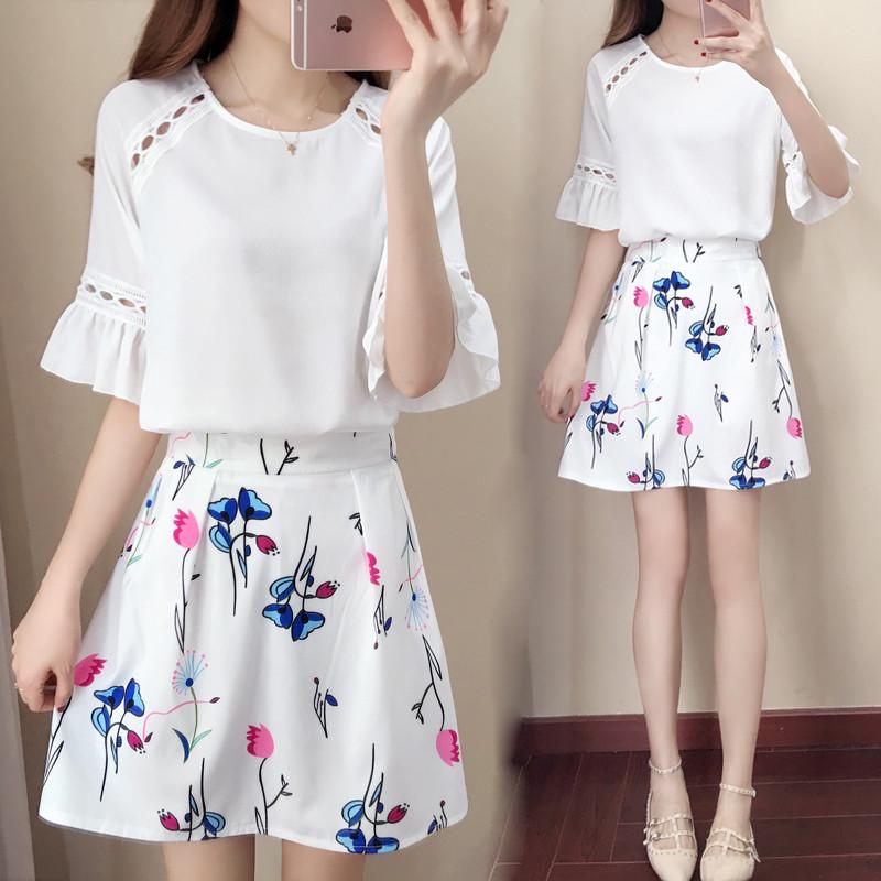 20172017夏装韩版新款雪纺连衣裙女学生套装裙子两件套软妹短裙