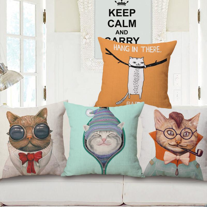 巨头时尚文艺风可爱猫咪靠枕靠垫棉麻抱枕含枕芯
