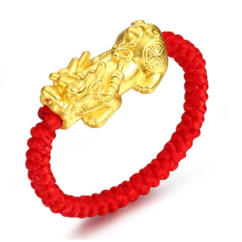 编织手环黄金戒指 本命年红绳金戒 转运珠戒指 貔貅红绳情侣 指环 送