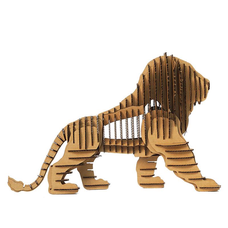 纸玩意 创意小手工艺品传统中国纸艺特色原创手作环保纸板拼图 狮子