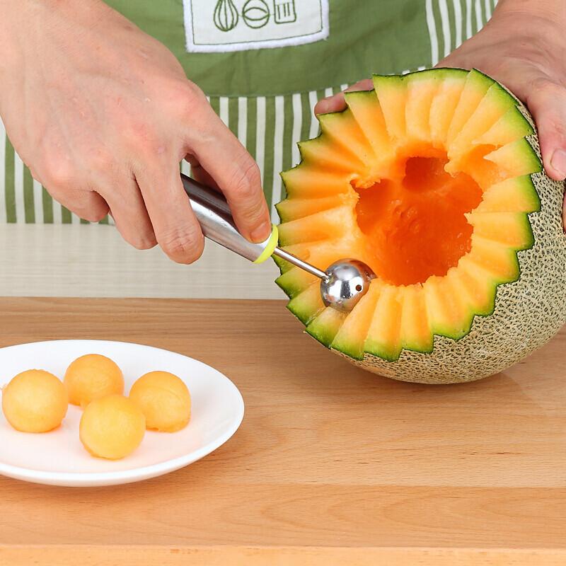 纳丽雅切西瓜神器水果雕花刀去囊勺子哈密瓜拼盘勺不锈钢水果挖球器