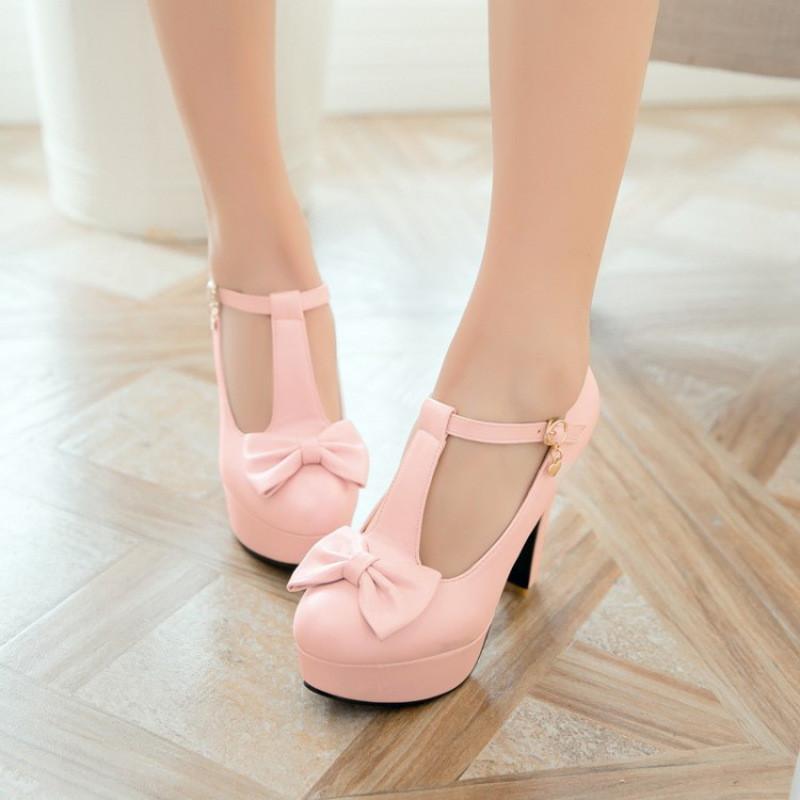 韩版小女孩公主鞋女童皮鞋蝴蝶结粉色高跟鞋儿童礼服鞋舞蹈鞋童鞋