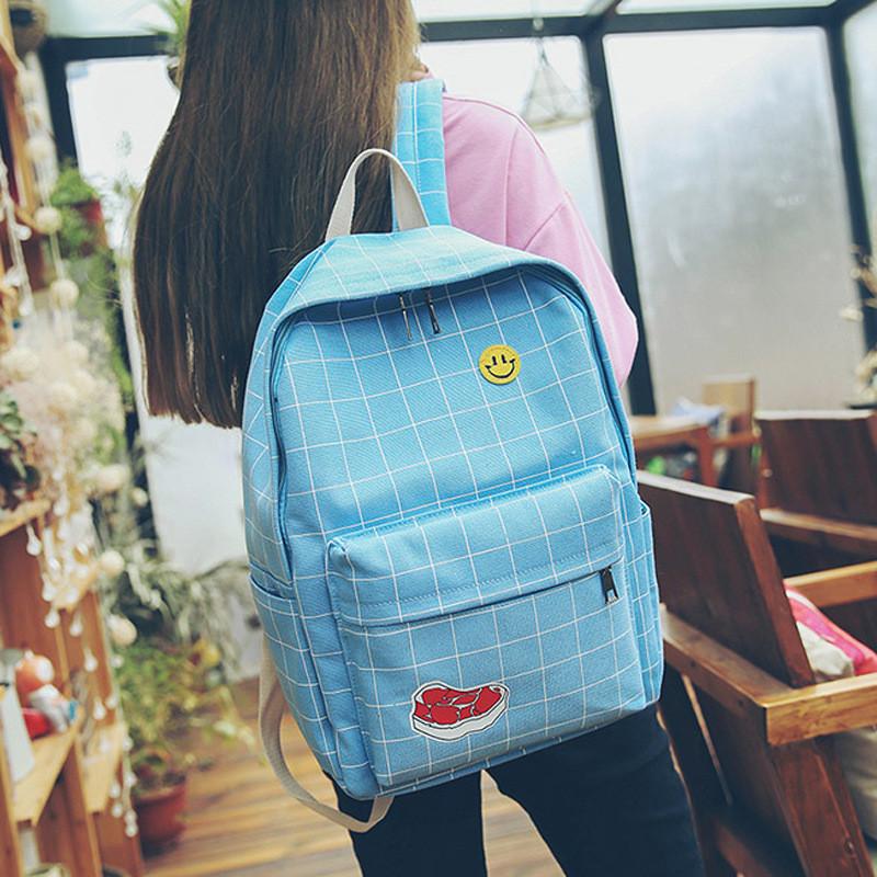 双肩包女韩版中学生书包初中生简约学院风百搭高中生休闲校园背包