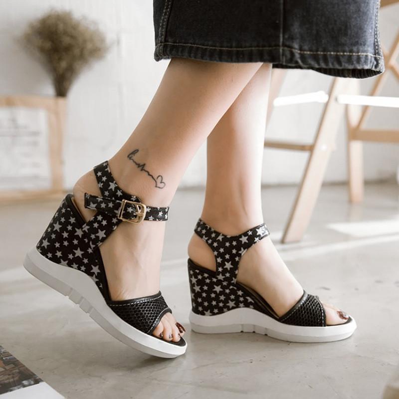 五角星网纱高跟坡跟防水台防滑底露趾时尚可爱女凉鞋17春夏新款