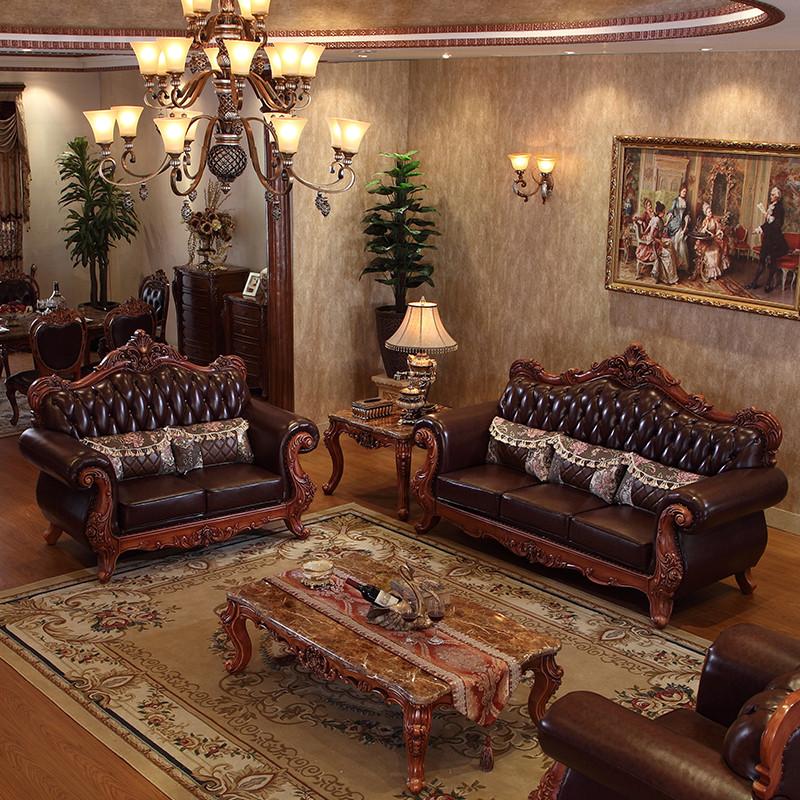 淮木(huaimu) 美式皮沙发 新古典别墅客厅家具组合实木雕花欧式皮艺图片