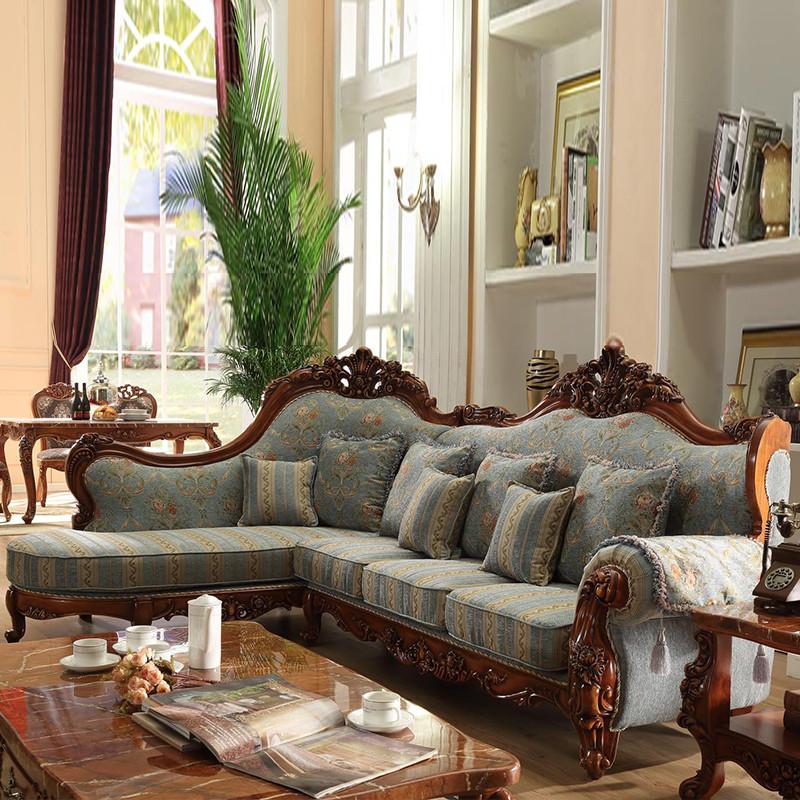 淮木(huaimu) 欧式实木雕花布艺沙发 别墅美式乡村可拆洗转角沙发组合