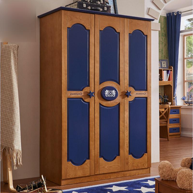 淮木(huaimu) 儿童衣柜实木美式三门实木衣柜 欧式大衣柜 1.3米衣柜图片