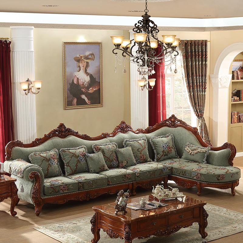 淮木(huaimu) 欧式实木雕花转角沙发组合 大小户型可拆洗美式布艺沙发