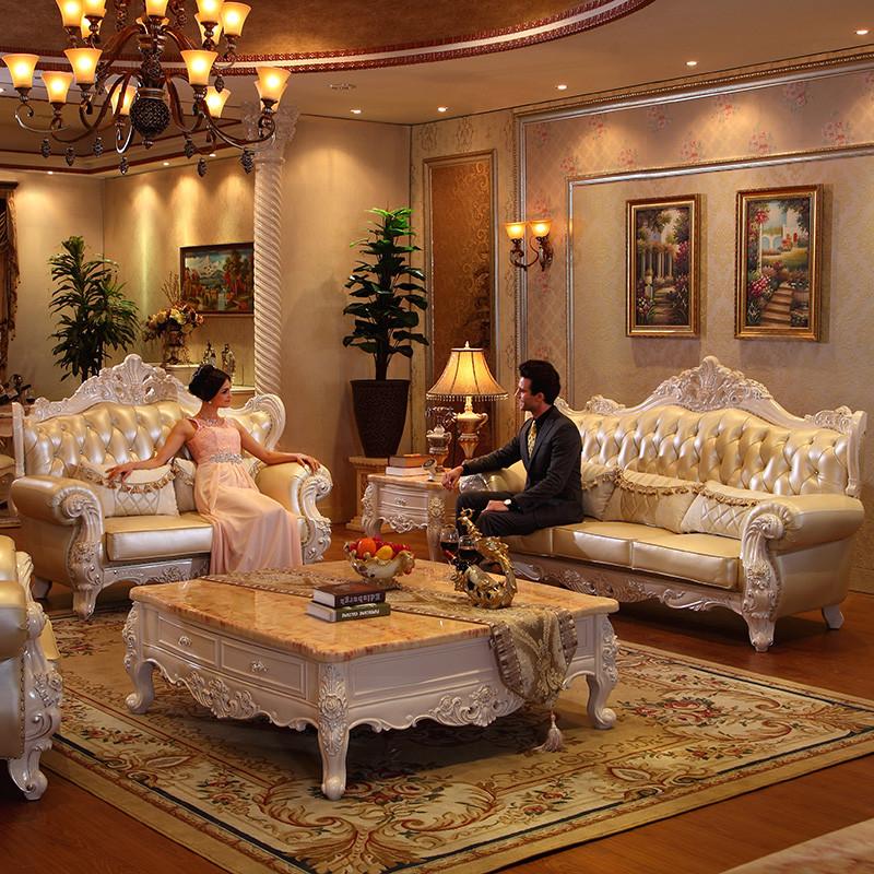 淮木(huaimu) 欧式实木雕花沙发 简约客厅组合欧式住宅家具皮艺沙发
