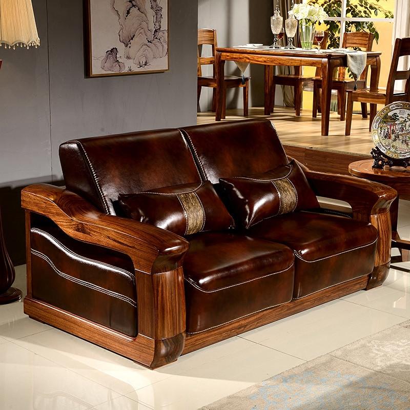 淮木 乌金木中式实木沙发小户型沙发简约客厅123组合真皮沙发5771图片