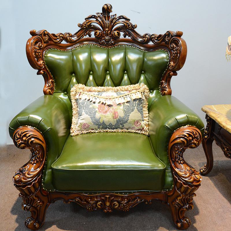 淮木 欧式皮沙发123组合 ?#30340;?#23458;厅雕花三人位绿色小户型沙发9252