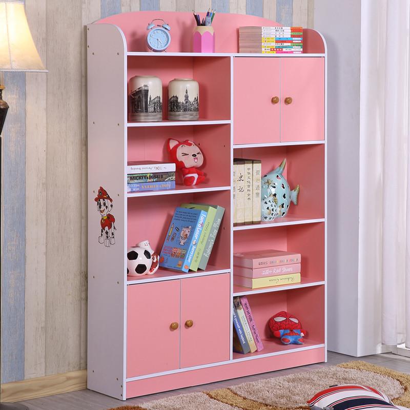 淮木(huaimu)儿童书架学生书柜带柜门简约现代创意书架置物架组合储物图片