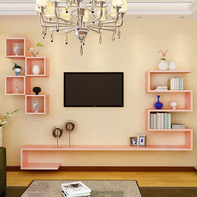 淮木(huaimu)创意电视背景墙装饰架 隔板墙上置物架 客厅造型架电视柜