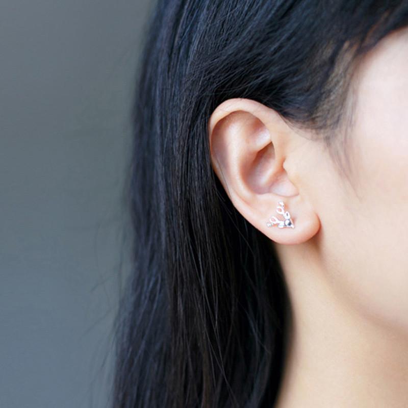 彩丽馆 耳钉女 银针 森系文艺麋鹿耳钉 小动物鹿角耳钉时尚耳饰礼物