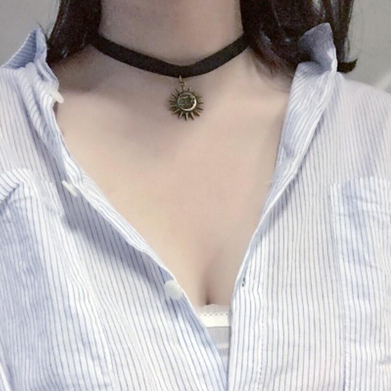 彩丽馆 日韩原宿颈带项圈女短款锁骨链女生可爱项链